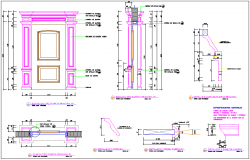 Column section view with door design