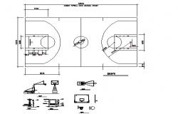 Column sectional details of basket ball court