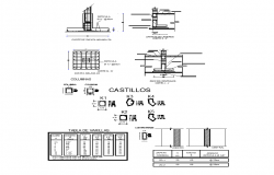 Column structure detail plan 2d view layout file