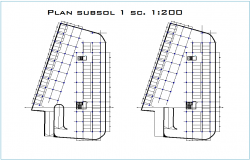 Column view in floor plan of hotel with structural view dwg file