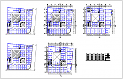 Column view of floor plan with elevation of municipal building dwg file