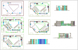 Column view of office building plan and elevation dwg file