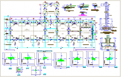 Column view with structural design of collage dwg file