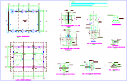 Column view with structural view and detail view and door and window  view dwg file