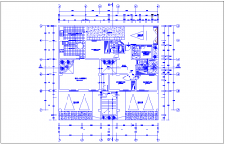Column view with structural view in first floor plan of apartment dwg file