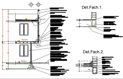 Column wall section detail dwg file