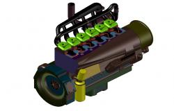 Combustion Engine 3d CAD Block