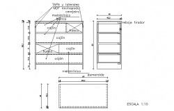 Comfortable table plan and elevation dwg file