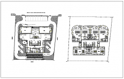Commercial administration building plan detail view dwg file