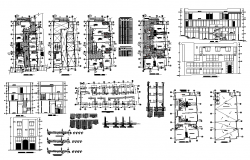 Commercial building CAD structure detail plan and elevation 2d view layout file