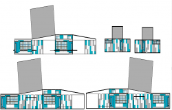 Commercial building Elevation plan detail dwg file