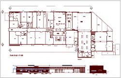 Commercial building design view with plan and elevation view dwg file