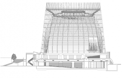 Commercial building detail elevation 2d view layout file