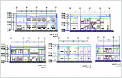 Commercial building elevation and section view detail dwg file