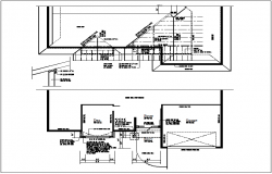 Commercial building floor plan and roof plan view detail dwg file