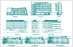 Commercial building floor plan detail and elevation section detail view dwg file