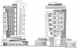 Commercial building front and back elevation details dwg file