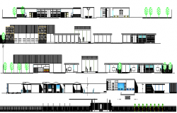 Commercial building gate Elevation plan detail dwg file