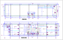 Commercial building of first and second floor plan dwg file