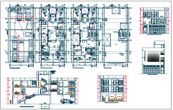 Commercial building plan detail with electrical plan layout view dwg file