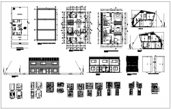 Commercial building plan elevation and section view detail dwg file