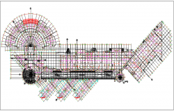 Commercial building upper roof  plan layout dwg file