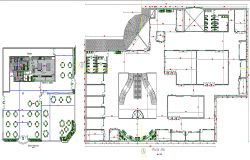 Commercial business center architecture layout plan details dwg file