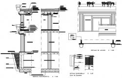 Commercial center open wall section detail dwg file