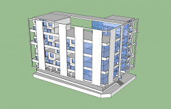 Commercial complex building detail elevation 3d model sketch-up file