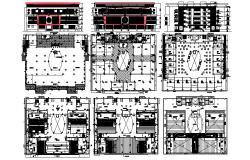Commercial complex with different elevation and section in dwg file