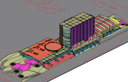 Commercial high rise 3 D plan dwg file