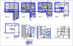 Commercial office plan and elevation detail dwg file