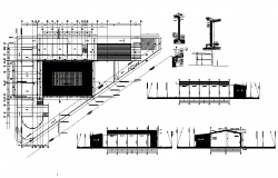 Commercial plan and elevation detail dwg file