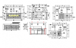 Commercial premises different elevation view dwg file
