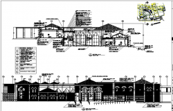 Commercial school elevation and section plan detail dwg file