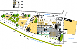 Commercial square super market landscaping with layout plan dwg file