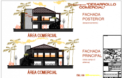 Commercial type bungalow main elevation and sectional details dwg file