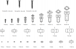 Common blocks of bolts and screws dwg file