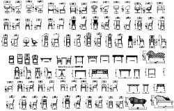 Common chair and table furniture blocks design details dwg file