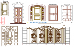 Common doors, windows and gate blocks details dwg file