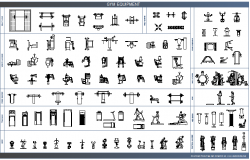 Common multiple gym equipment blocks design dwg file