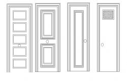 Common single door elevation blocks cad drawing details dwg file