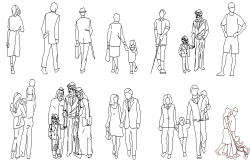 Common standing people block dwg file