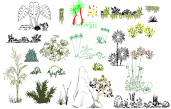 Common tree and plant blocks dwg file