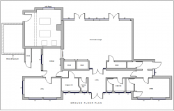Communal building floor plan design view dwg file