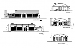 Communal hall Building elevation and section 2d view layout file