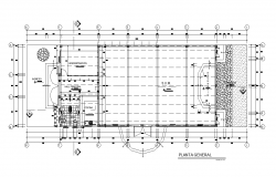 Communal hall detail plan 2d view layout autocad file