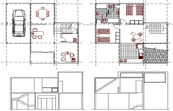 Community Police Station Houses Elevation and Structure Details dwg file