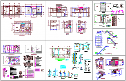 Community hall architectural plan,sectional and elevation with sanitary,hydraulic and structural view dwg file