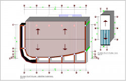 Community store front office plan with construction view dwg file